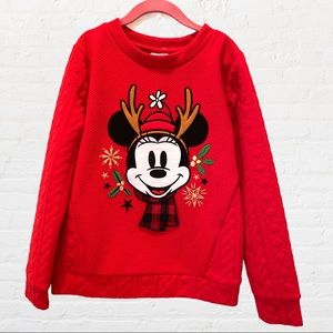 DISNEY 7/8 Kids Christmas Sweatshirt Mickey Mouse